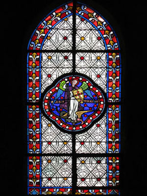 Stained glass image of Archangel Michael, Belleville, Paris at My Favourite Planet