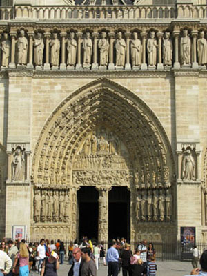 Main doorway of Notre Dame Cathedral, Paris at My Favourite Planet
