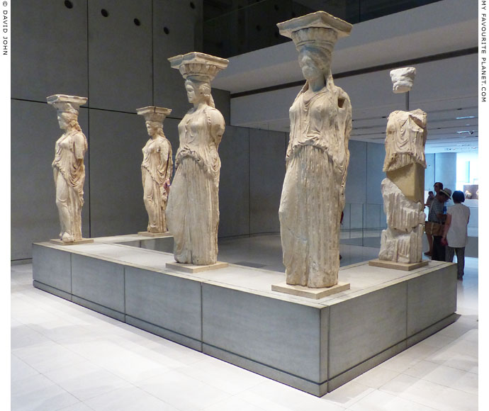 Caryatids from the Erechtheion in the New Acropolis Museum, Athens, Greece at My Favourite Planet