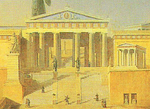 Idealized view of the Propylaea and the Pedestal of Agrippa, Acropolis, Athens by Leo von Klenze