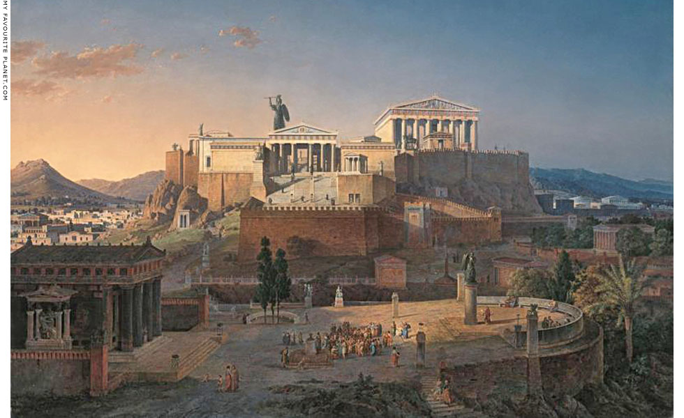 Idealized view of the Acropolis and Areopagus in Athens by Leo von Klenze at My Favourite Planet