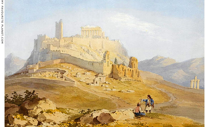 A watercolour of the Acropolis in the 19th century by William Page