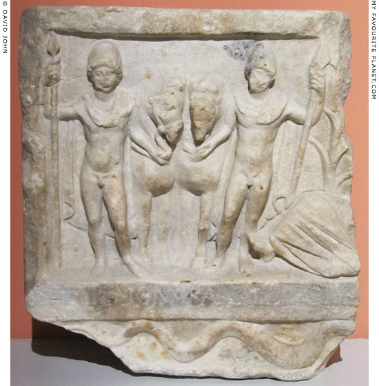 Votive relief of Castor and Pollux, the Dioskouri, from Amphipolis, Macedonia, Greece
