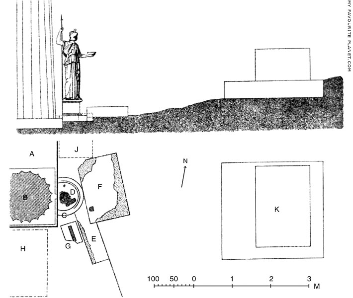 Reconstruction drawing and plan of the shrine of Athena Hygieia, Acropolis, Athens at My Favourite Planet