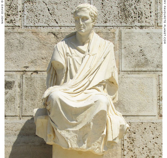 Statue of the Athenian comedy playwright Menander at My Favourite Planet