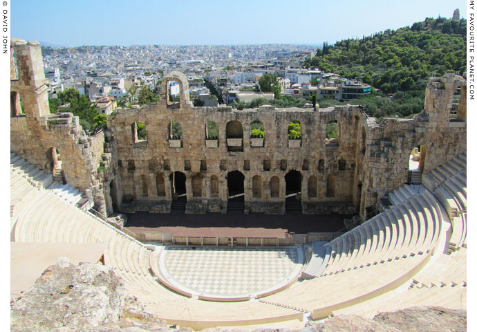 The interior of the Odeion of Herodes Atticus with restored seating at My Favourite Planet