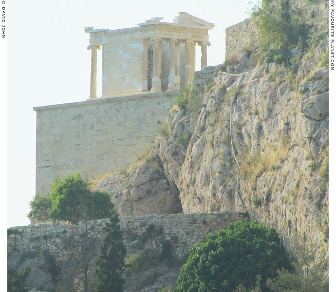 The front of the Temple of Athena Nike from the south slope of the Acropolis, Athens, Greece at My Favourite Planet
