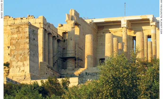 The Pedestal of Agrippa in front of the north wing of the Propylaea, Acropolis, Athens, Greece at My Favourite Planet