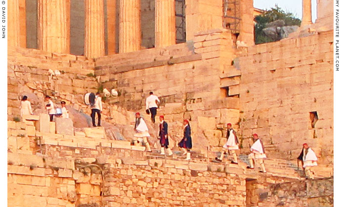 Dancers in traditional Greek costumes on the Acropolis, Athens, Greece at My Favourite Planet