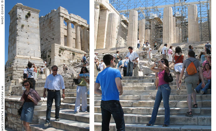 The stairway up to the Propylaea on the Acropolis, Athens, Greece at My Favourite Planet