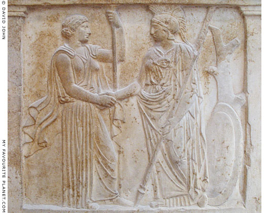 Hera and Athena shake hands