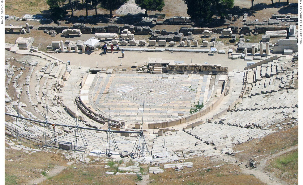 The orchestra (stage) of the Theatre of Dionysos, Athens, Greece at My Favourite Planet