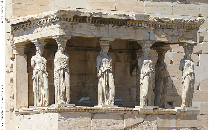 The Caryatid Porch on the south side of the Erechtheion, Acropolis, Athens, Greece at My Favourite Planet