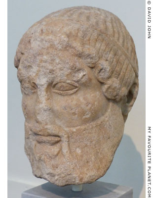 Marble head of a mature, bearded Dionysus from the Athens Acropolis at My Favourite Planet