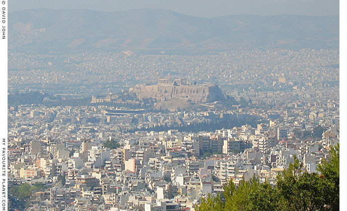 The Acropolis and central Athens from Mount Ymittou at My Favourite Planet