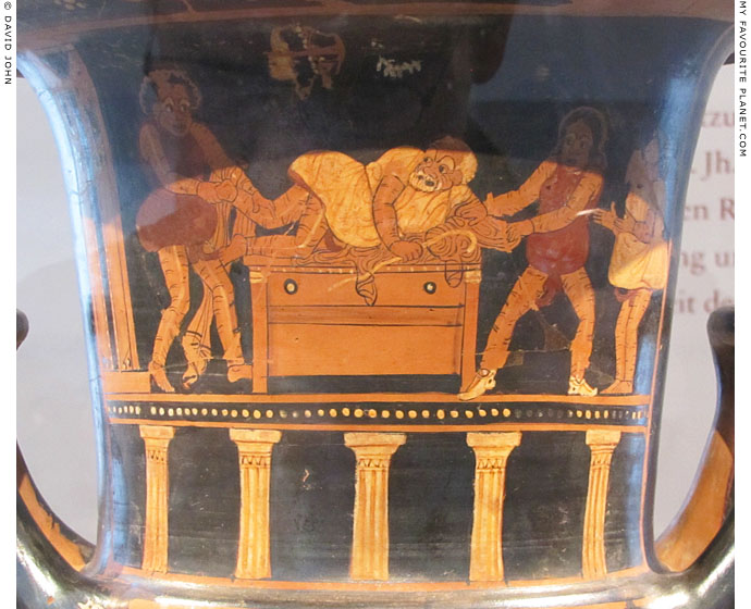 A scene from an Attic comedy on a calyx krater made in Paestum at My Favourite Planet
