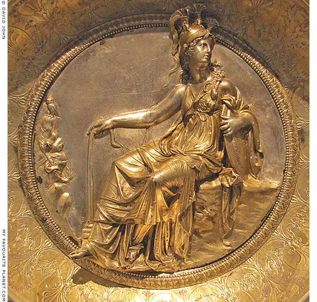 A relief of Athena / Minerva and her owl, Hildesheim silver treasure, at My Favourite Planet