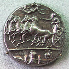 A quadriga on a coin from ancient Syracuse at My Favourite Planet