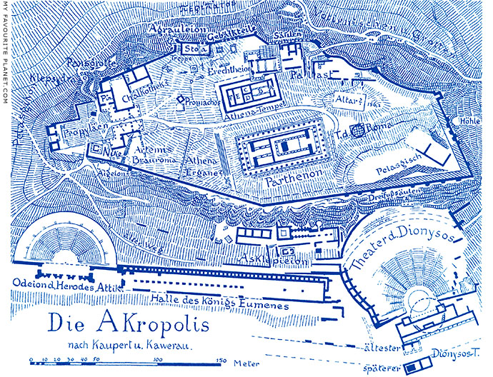 Plan of the Athenian Acropolis, after Kaupertu and Kawerau at My Favourite Planet