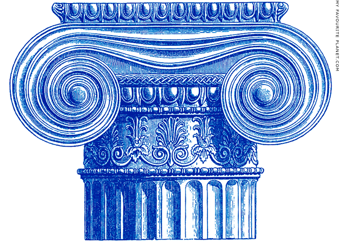 Reconstruction drawing of an Ionic capital at My Favourite Planet