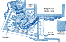 See a plan of the northwest corner of the Acropolis and the stairs to the Klepsydra on gallery page 4