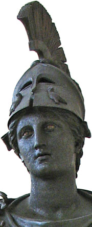 Detail of the Piraeus Athena statue, with owls on her Corinthian helmet at My Favourite Planet