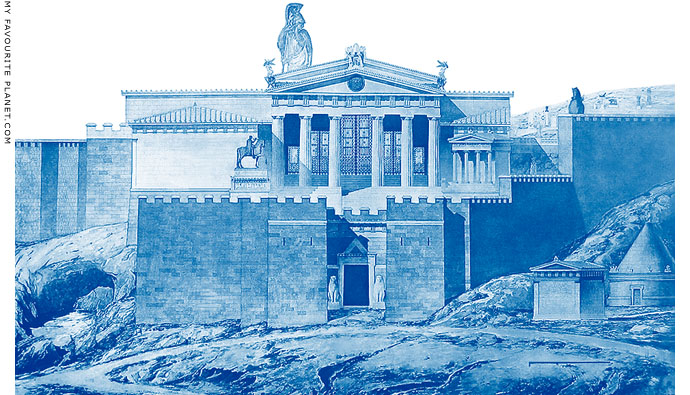 Idealized reconstruction of the west side of the Acropolis 1873 at My Favourite Planet