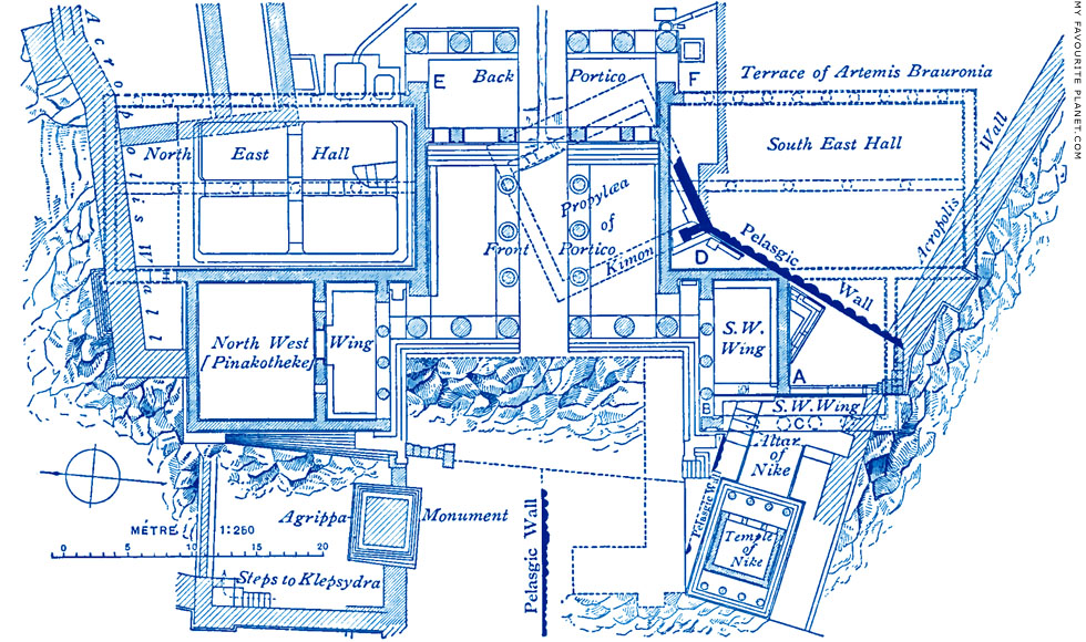 Plan of the Propylaia, Acropolis, Athens at My Favourite Planet