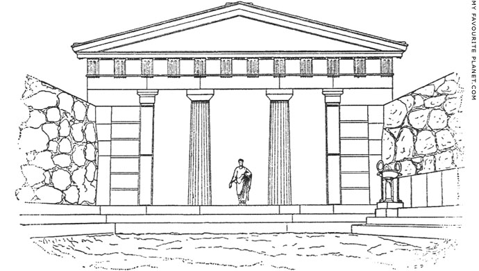 Reconstruction drawing of the late Archaic Propylon, Acropolis, Athens at My Favourite Planet