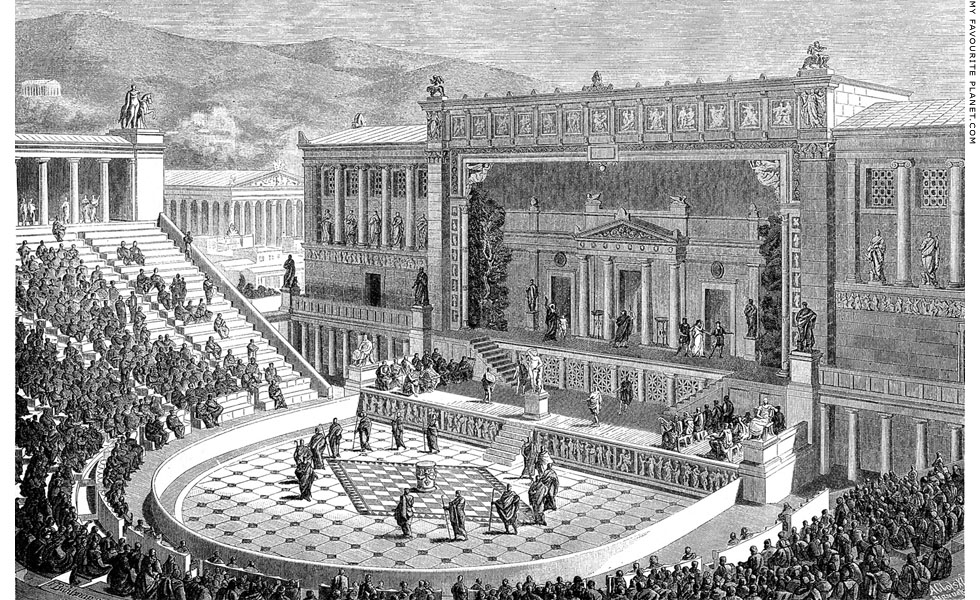A reconstruction drawing of the Theatre of Dionysos during the Roman period at My Favourite Planet