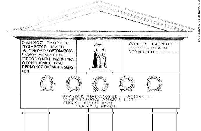 Drawing of The facade of the Choragic Monument of Thrasyllos by the Earl of Sandwich