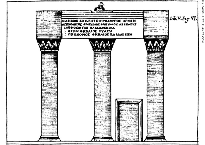 Drawing of The facade of the Choragic Monument of Thrasyllos by George Wheler
