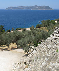 View of Kastellorizo island from the ancient Greek ampitheatre of Antiphellos at My Favourite Planet