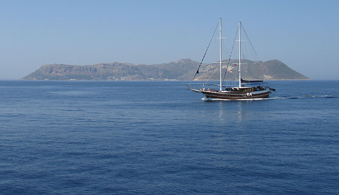 A sailing boat off the coast of Kastellorizo, Greece at My Favourite Planet