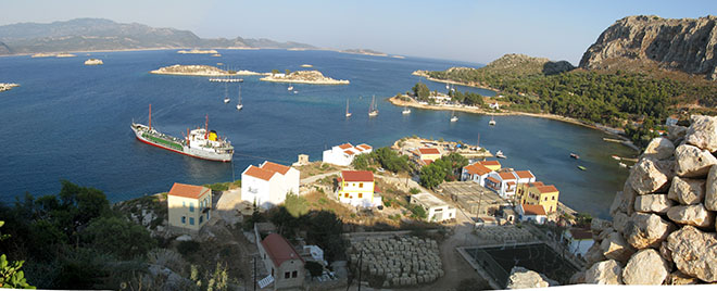Panoramic view of Mandraki harbour from the Knight's Castle, Kastellorizo, Greece at My Favourite Planet