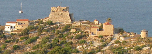 Aerial view of the Kavos headland and Knights' Castle, Kastellorizo island, Greece at My Favourite Planet
