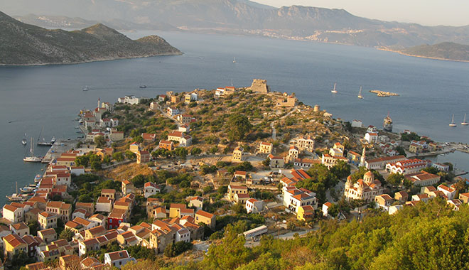 Overview of the Kavos headland and Kastellorizo town, Greece at My Favourite Planet