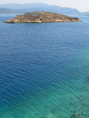 The islet Psoradia just outside Kastellorizo harbour, Greece at My Favourite Planet