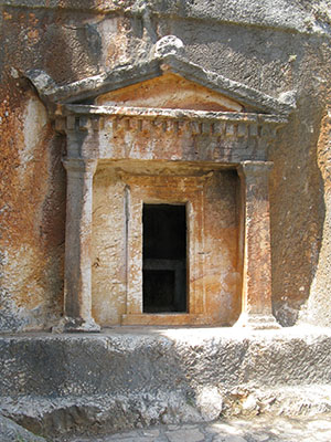 The 4th century BC Lycian rock-cut tomb on Kastellorizo island, Greece at My Favourite Planet