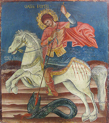 Icon of Agios Giorgos (Saint George) killing the dragon in Kastellorizo Archaeological Museum, Greece at My Favourite Planet