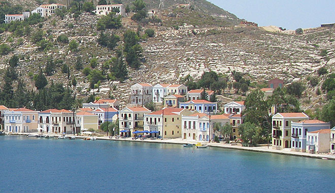 Harbour-side houses on 25th March Street, Kastellorizo, Greece at My Favourite Planet