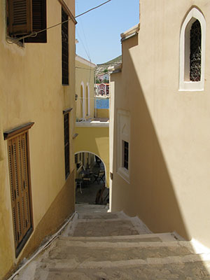 A stepped street to the harbour, Kastellorizo, Greece at My Favourite Planet