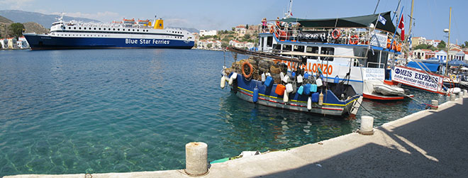 The Diagoras ferry manoeuvres in Kastellorizo harbour, Greece at My Favourite Planet