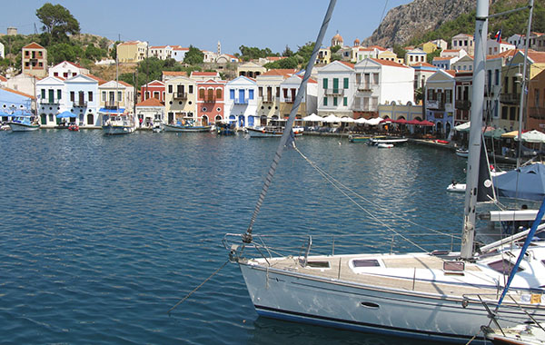 The southeast corner of Kastellorizo harbour, Greece at My Favourite Planet
