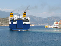 The Diagoras ferry leaving Kastellorizo harbour, Greece at My Favourite Planet