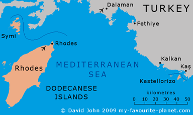 Maps of Kastellorizo in the Dodecanese islands at My Favourite Planet