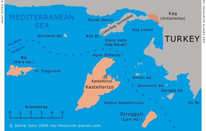 Map of Kastellorizo and surrounding islands in the Dodecanese, Greece and the Lycian coast at My Favourite Planet