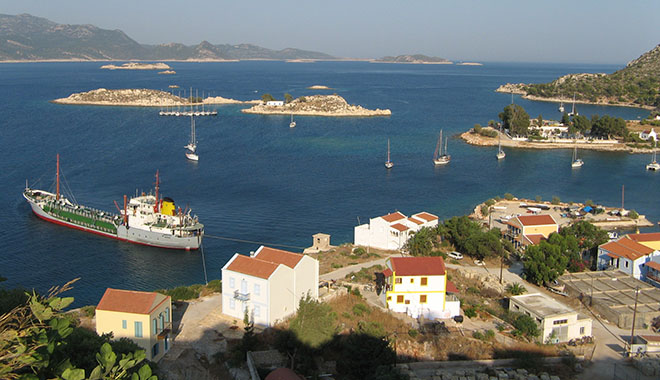Mandraki harbour from the Knights' Castle, Kastellorizo, Greece at My Favourite Planet