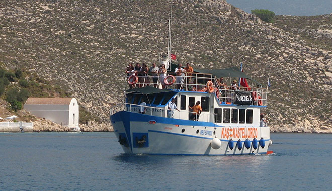 The Meis Express ferry from Kas arrives in Kastellorizo, Greece at My Favourite Planet
