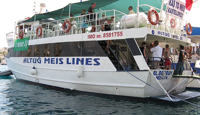 The Altug Meis Lines ferry from Kaş in Turkey arrives in Kastellorizo harbour, Greece at My Favourite Planet
